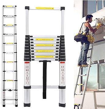 Escalera telescópica de 3,2 m, escalera de extensión de aluminio, peso ligero, plegable, carga máxima de 150 kg, ahorra espacio y es fácil de transportar para interiores y exteriores: Amazon.es: Bricolaje y