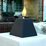 Black Pyramid Style Table Top Fire Bowl, Ventless Outdoor Cement Portable Bio Ethanol Fire Pit, Modern Round Table Fireplace