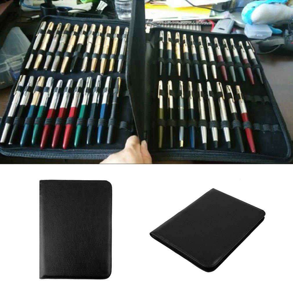 Estilográfica negra/Roller Pen Estuche de cremallera de cuero de ...