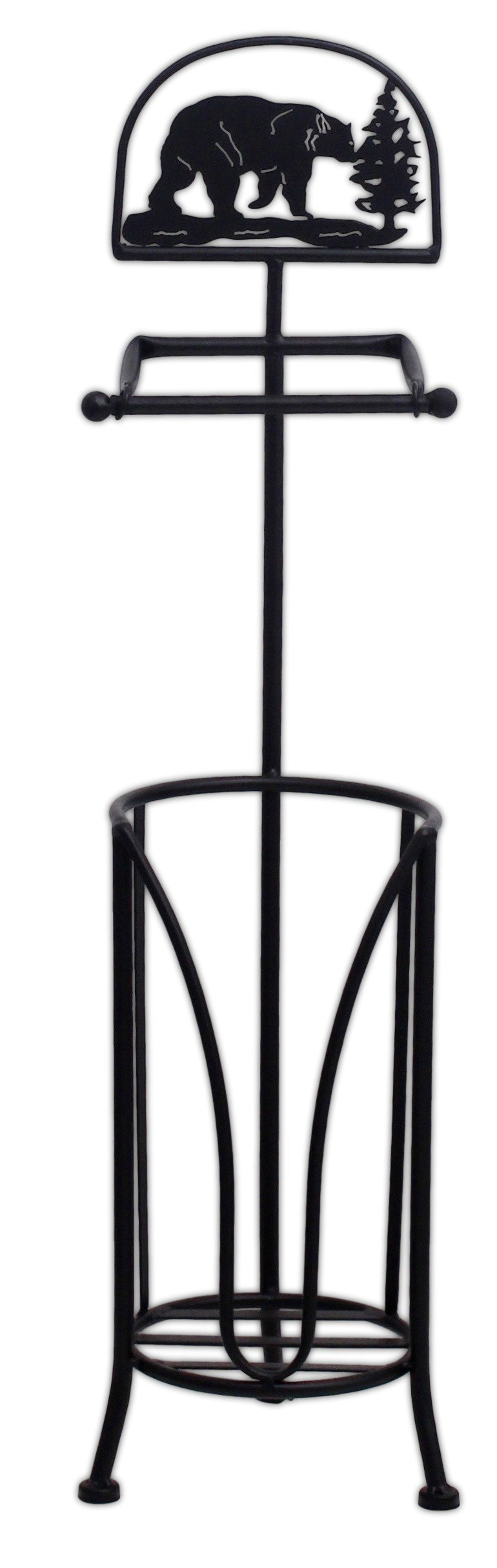 MayRich 29'' Metal Black Bear Toilet Paper Holder Stand