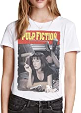 Retro Tees Ladies Cult Pulp Fiction Movie Poster T-Shirt
