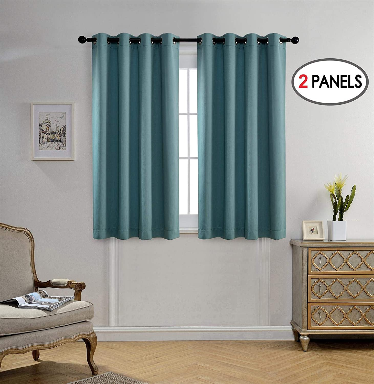 Miuco Blackout Curtains Room Darkening Curtains Textured Grommet Curtains for Window Treatment 2 Panels 52x63 Inch Long Teal