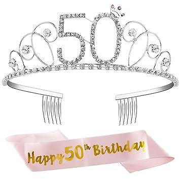 ZWOOS Tiara Cristal Diadema Corona Cumpleaños Corona Princesa Decoracion fiesta Feliz Cumpleaños de Número 50 con Satin Sash