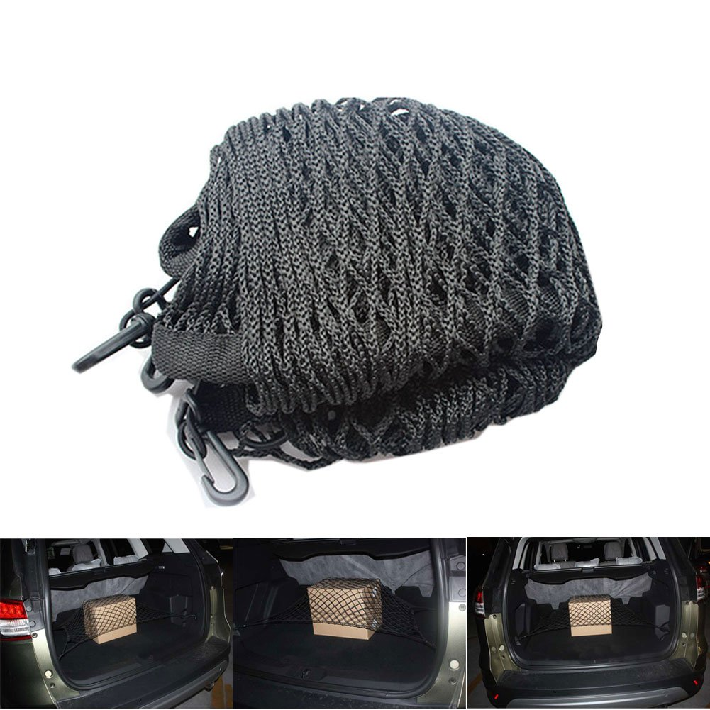 TTIO Double-Layer High Elastic Car Cargo Net with 4 Hook Trunk Mesh Cargo Storage Organizer 80X60CM Ebestgoods 80X60 Double-layer