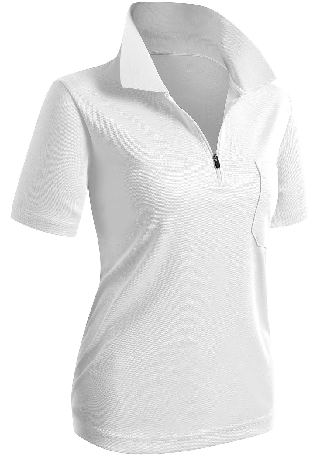 CLOVERY Sweat Evaporate Quickly Drying Short Sleeve Zipup POLO Shirt WHITE US XL + / Tag XXL