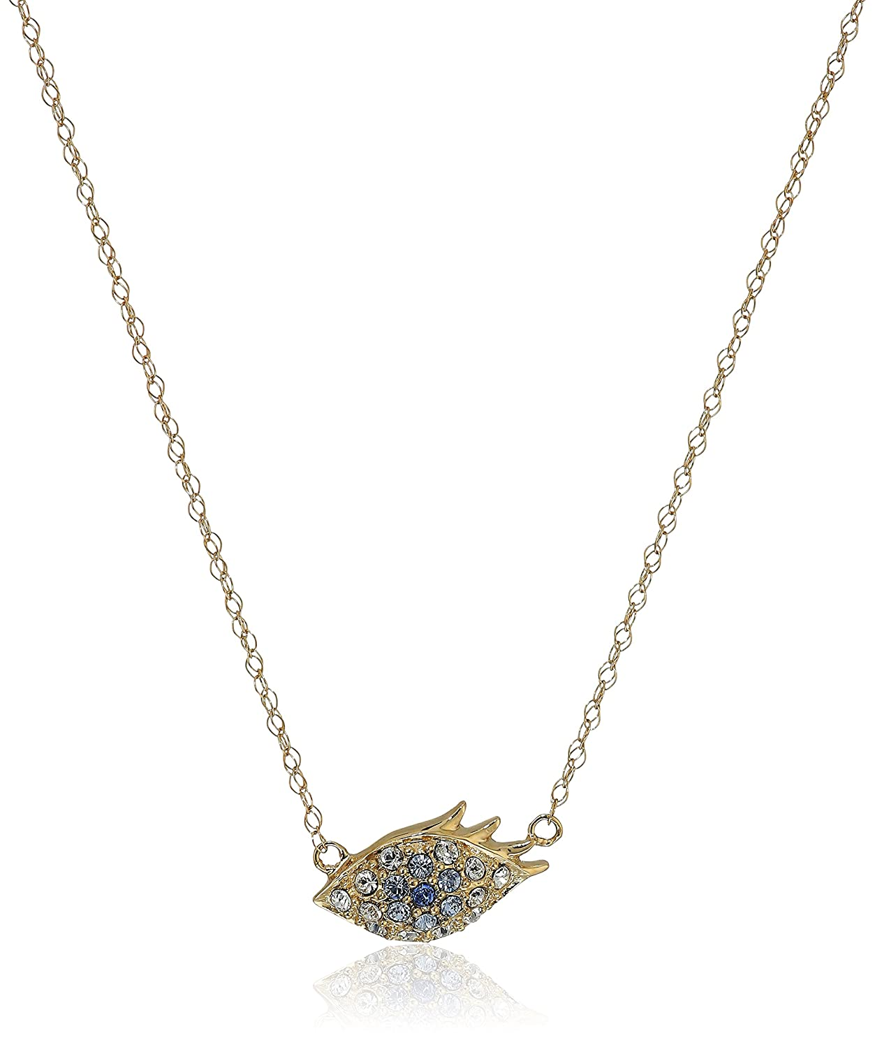 10k Yellow Gold Swarovski Crystal Evil Eye Necklace, 17""