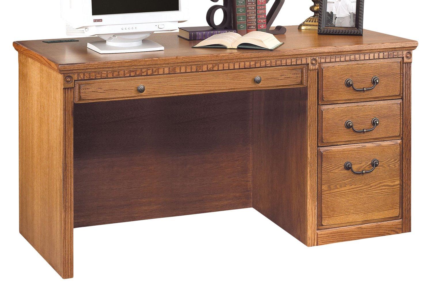 Martin Furniture Huntington Oxford Single Pedestal Computer Desk, Wheat Finish, Fully Assembled