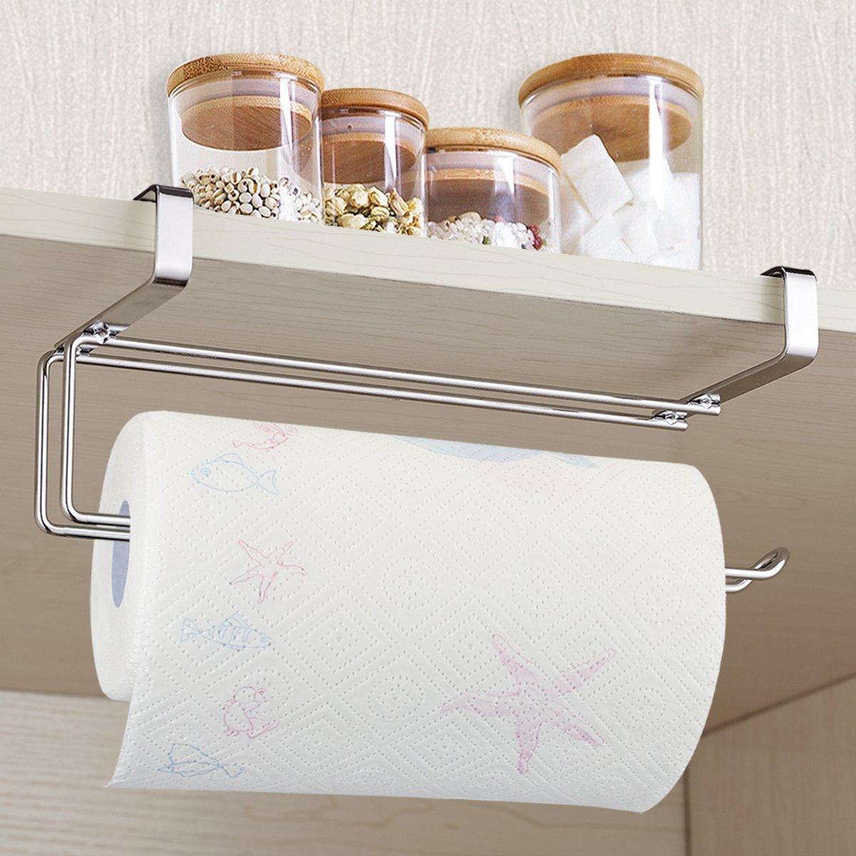 Paper Towel Holder, Aiduy Hanging Paper Towel Holder Under Cabinet Paper Towel Rack Hanger Over the Door Kitchen Roll Holder, Stainless Steel
