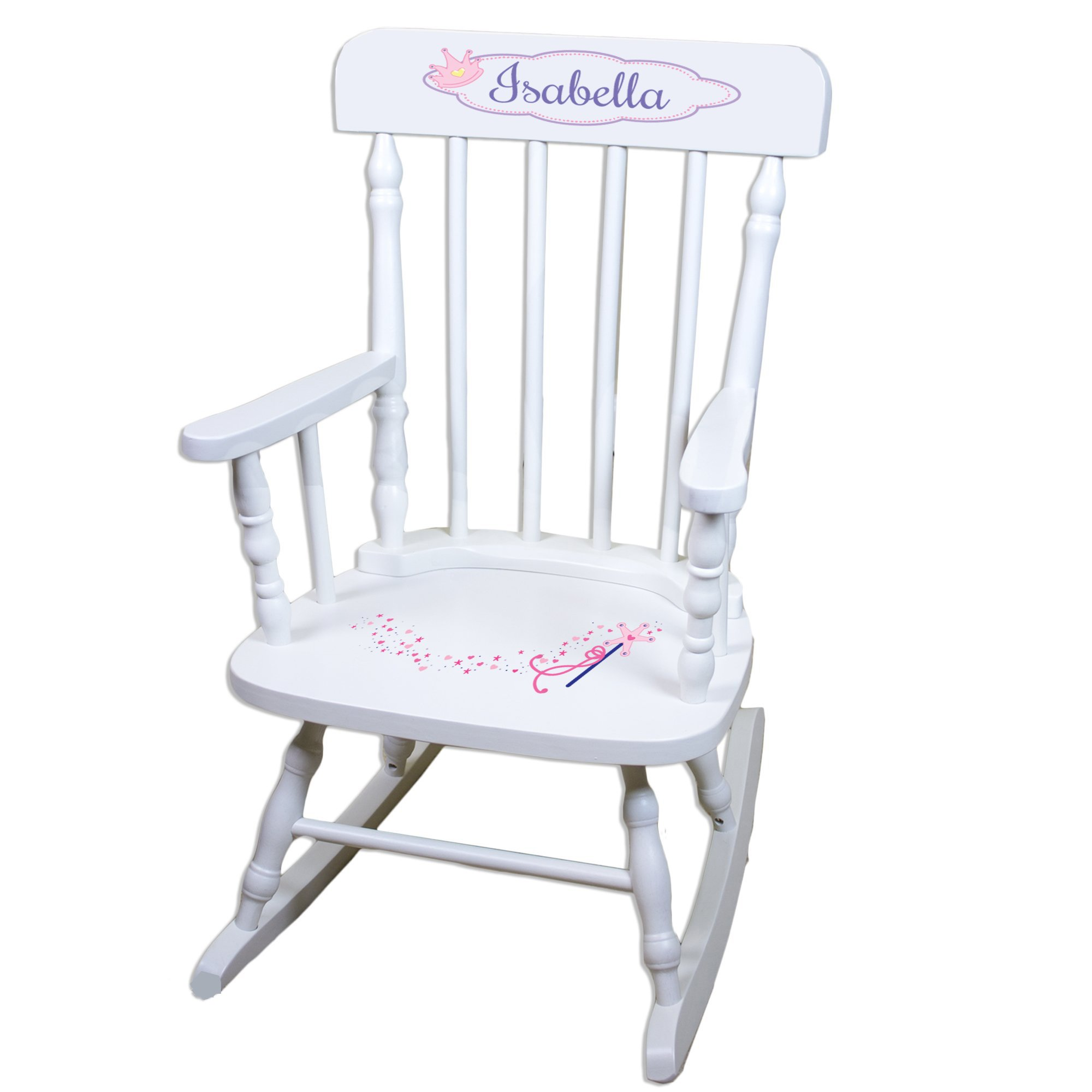Personalized Fairy Princess White Childrens Rocking Chair by MyBambino