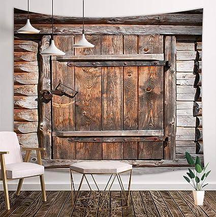 Kotom Rustic Wood Door Tapestry Country Barn Vintage Wooden Board Door Wall Art Hanging Blankets Home Decor For Bedroom Living Room Dorm 80x60