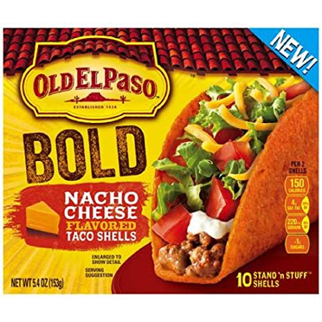 Old El Paso, Stand 'n Stuff, Nacho Cheese Flavored Taco Shells, 10 Count, 5.4oz Box (Pack of 3)