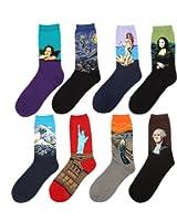 Zmart Men's Art Patterned Casual Crew Socks 8-Pack