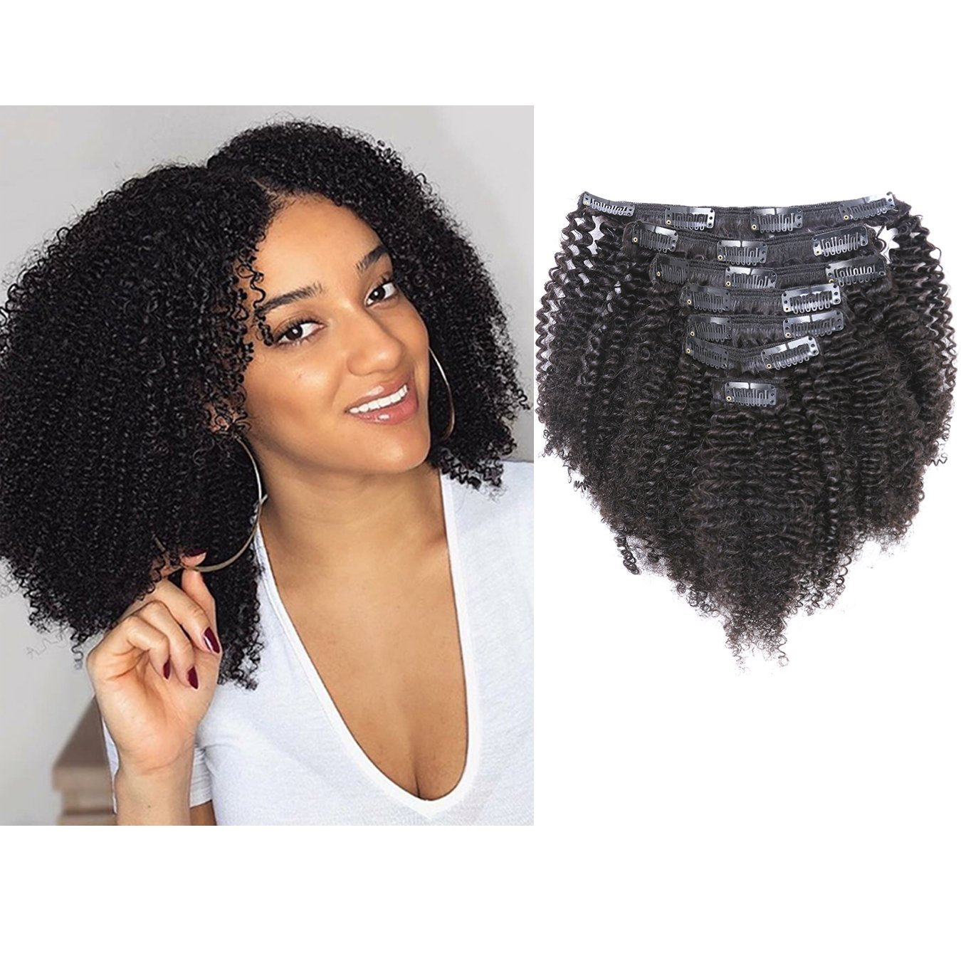 Anrosa Kinkys Curly Clip in Hair Extensions Real Natural Hair Afro Kinky Clip ins Human Hair 1B Natural Black for African American Black Women 3C 4A Type Thick Hair 120 Gram 16 Inch Remy Hair