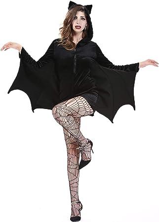 VAMPIRO Halloween Ali Di Pipistrello Costume Donna Nero Cape Costume