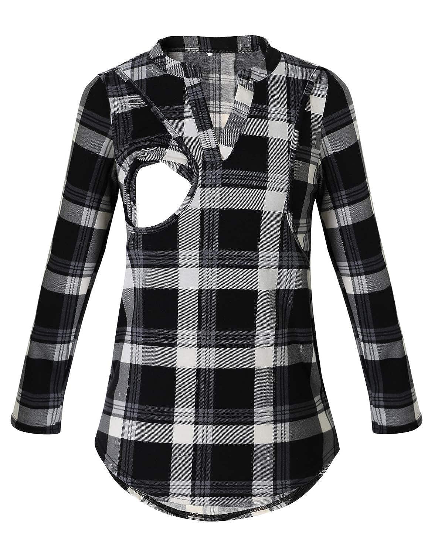 PrettyLife Nursing Tops with Side Pockets Notch Neck Plaid Breastfeeding Blouse Shirt