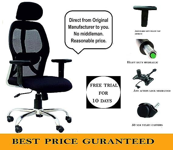 KS Chairs Pollo Chrome Base HIGH Back Office Chair Adjustable ARMS