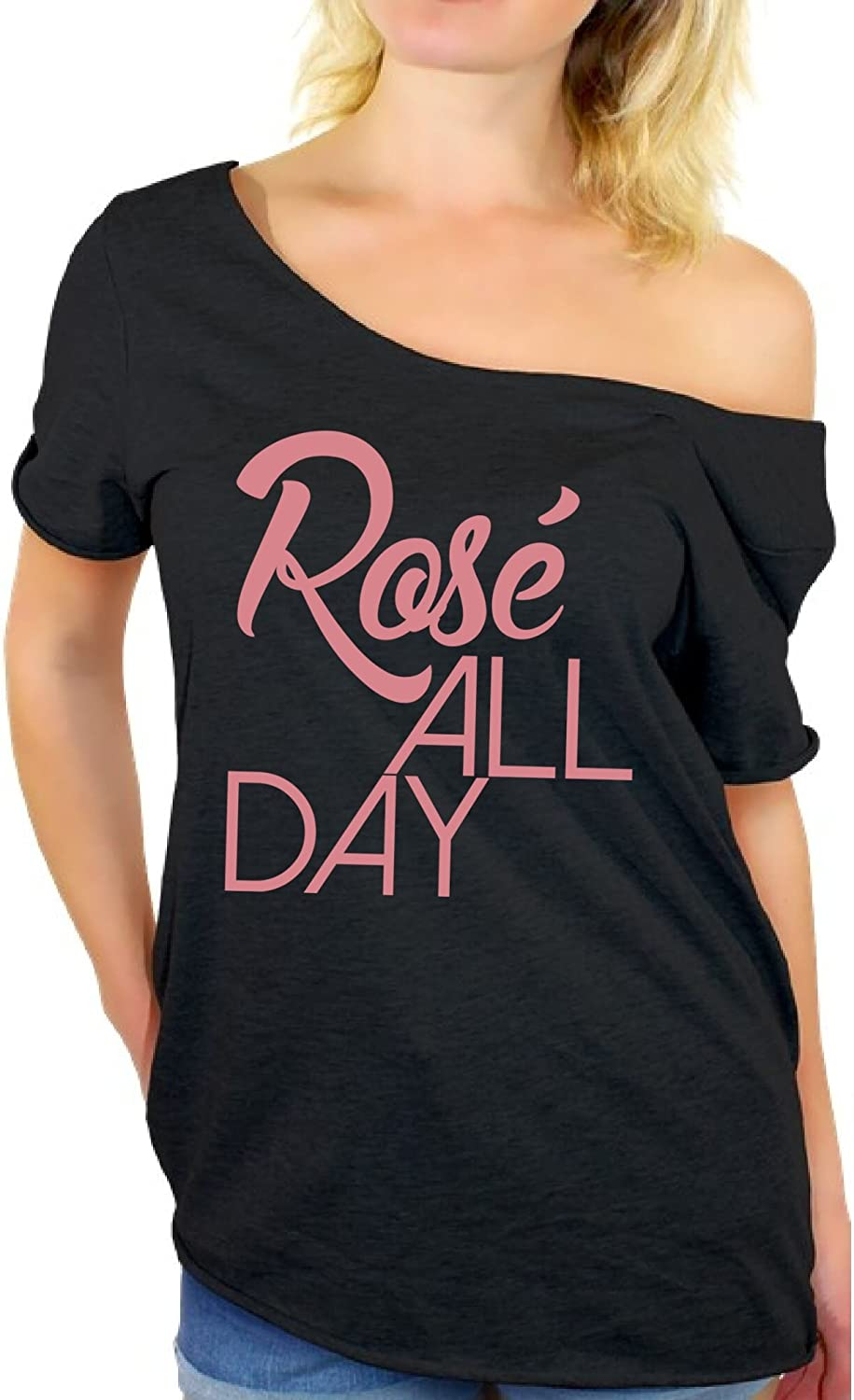 Awkward Styles Women's Rose All Day Relaxed Drinking Off Shoulder Tops T Shirt