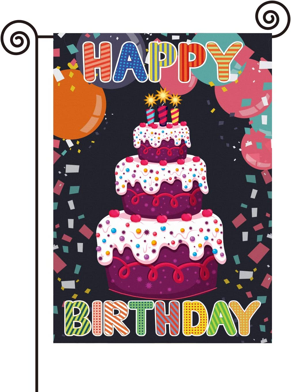 PANHUI Happy Birthday Garden Flag,12 x 18 Inch Double Sided Outdoor Yard Lawn Garden Flag for Birthday Party House Home Decor