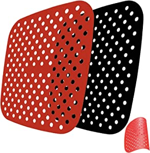 Reusable Air Fryer Liners Fit for Cosori, NuWave, Chefman, Dash 5QT Air Fryers, Non-Stick Silicone Air Fryer Basket Mats KGPLOME Accessories,Food Silicone - 2 Pack (8.47 Inch,Square)