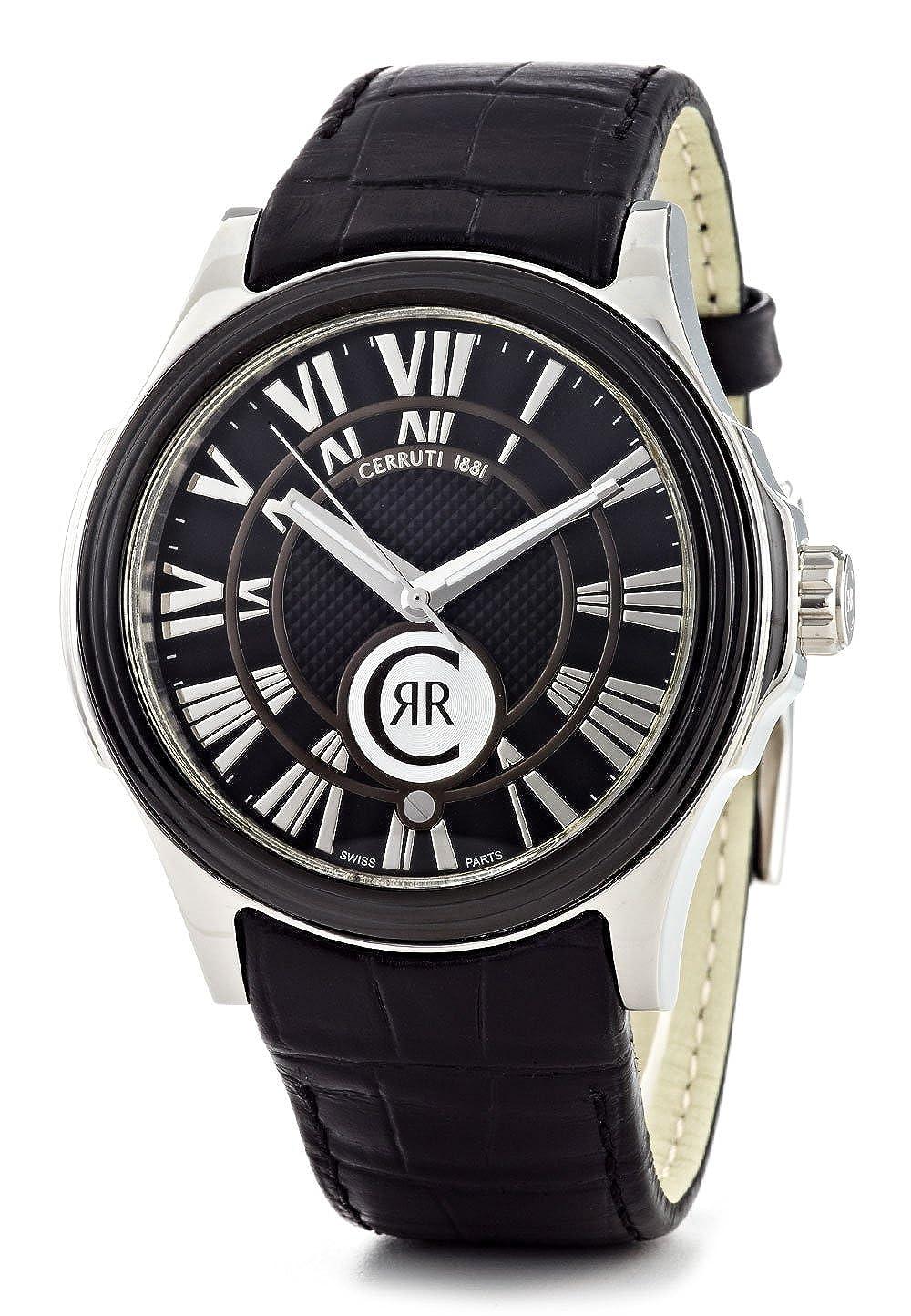 Cerruti CRA025E222B - Reloj analógico de caballero de cuarzo con correa de piel negra - sumergible a 50 metros