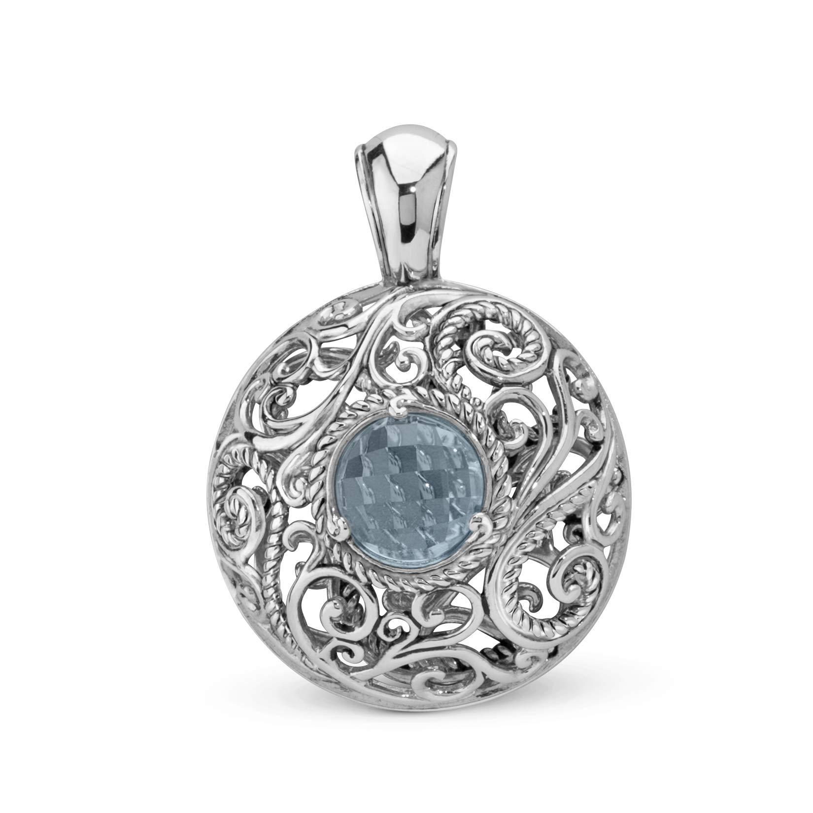 Carolyn Pollack Sterling Silver & Blue Topaz Pendant Enhancer