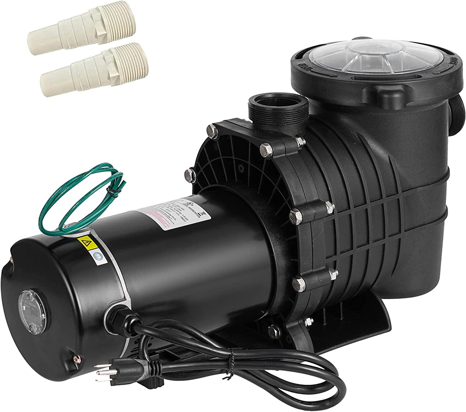 PRIBCHO 1.5 HP Pool Pump Inground High Flow Pool Pump Above Ground Single Speed Swimming Pool Pumps with Strainer Basket 110/220V Dual Voltage W/ 2Pcs 1-1/2NPT Connectors