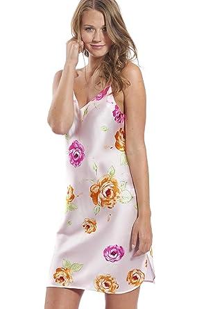 780131a99d0636 Jadee Damen Seiden Nachthemd Negligee 100% Seidensatin Pink Roses - S -