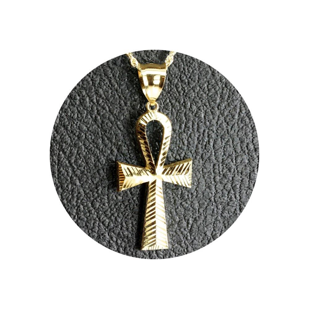 LoveBling 10K Yellow Gold Diamond Cut Ankh Cross Charm Necklace Pendant (2.26'' x 1'') by LOVEBLING