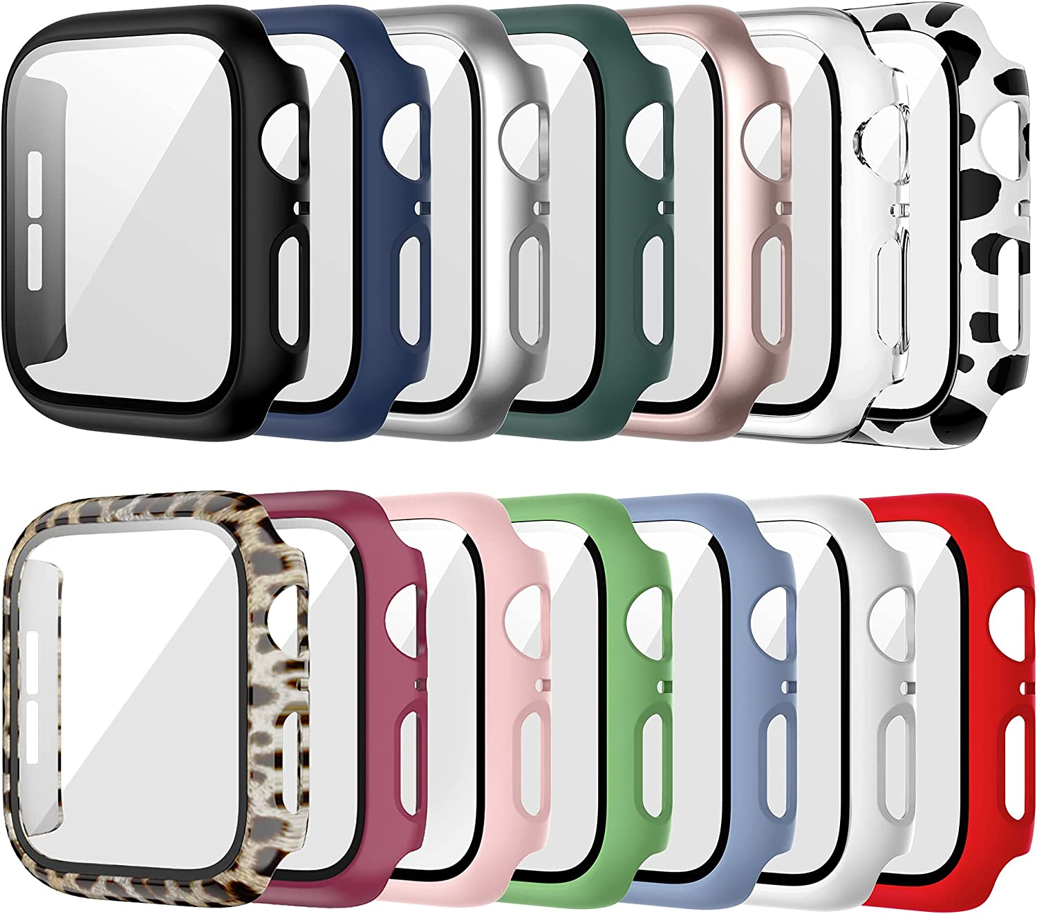 14 Pack Case for Apple Watch 42mm Series 3/2/1 with Tempered Glass Screen Protector, Haojavo Full Hard PC Ultra-Thin Scratch Resistant Bumper HD Protective Cover for iWatch Accessories