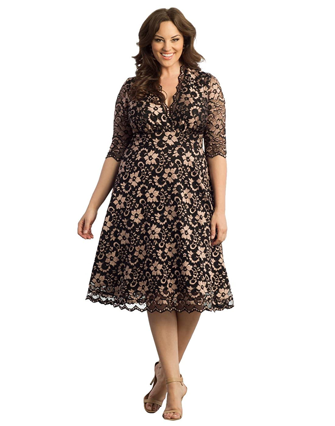 Plus Size Retro Dresses Kiyonna Womens Plus Size Mademoiselle Lace Dress $164.00 AT vintagedancer.com