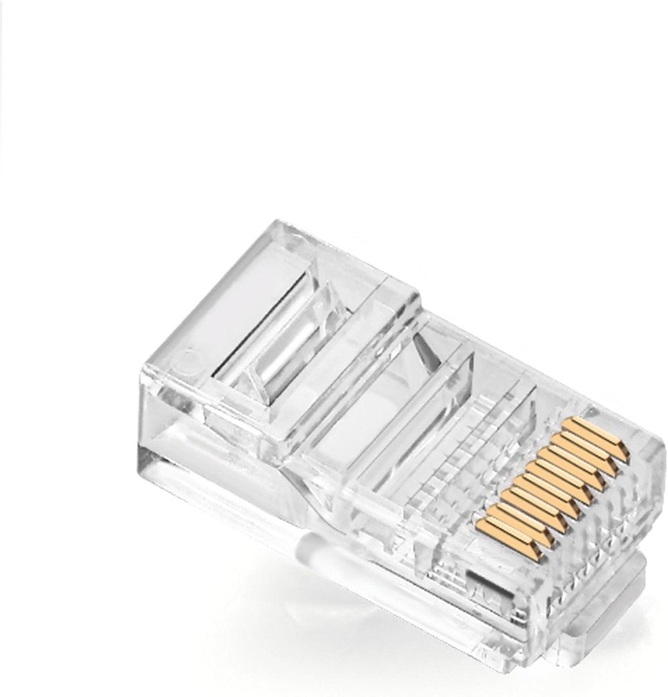 FosFun RJ45 CAT5 CAT5E CAT6 Connector 8P8C UTP Gold-Plated Ethernet Unshielded Crystal Head 100PCS per Bag