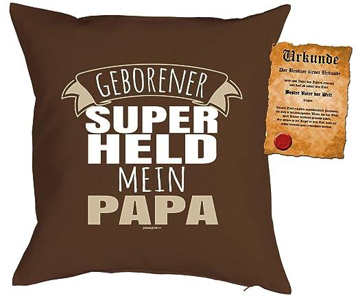 Cojín: Papa Dad Día del Padre geborener Super Held Mi Papa ...