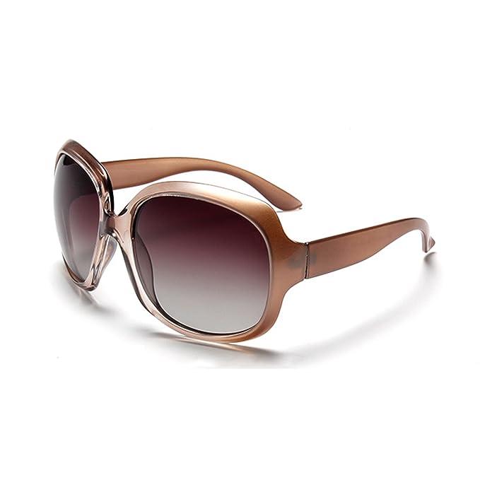 QIXU Gafas de Sol Polarizadas Mujer Oversized Marrón Protección UV400 Grandes de Marca y Caso: Amazon.es: Ropa y accesorios