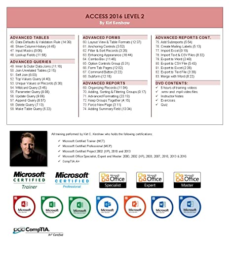 Access 2016 Training Videos – 16 Hours of Access 2016 training by Microsoft  Office: Specialist, Expert and Master, and Microsoft Certified Trainer