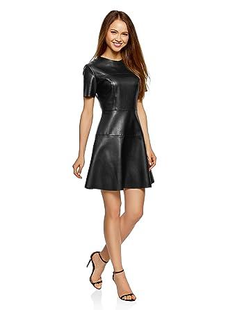 oodji ultra women s slim fit faux leather dress co uk