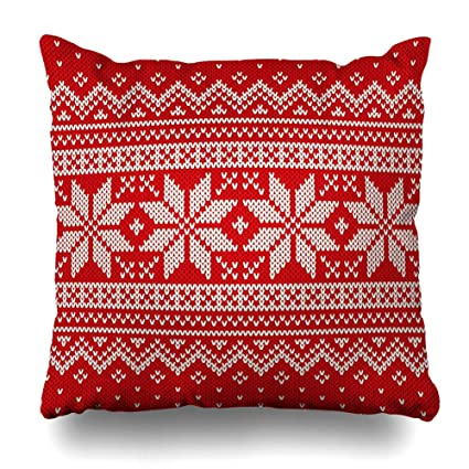 Christmas Sweater Pattern.Amazon Com Diycow Throw Pillows Covers Wool Red Jumper