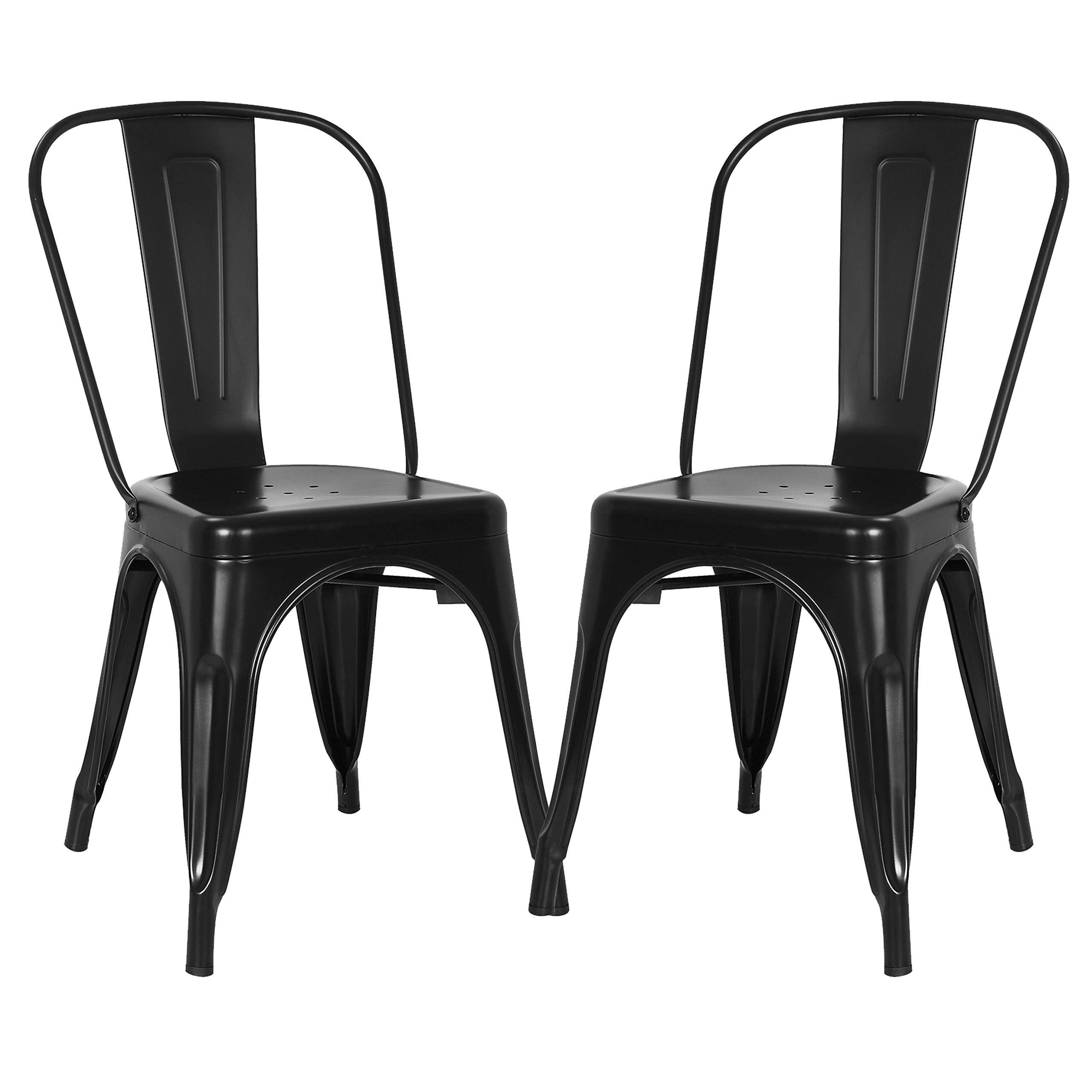 Poly and Bark Trattoria Kitchen and Dining Metal Side Chair in Black (Set of 2) by POLY & BARK