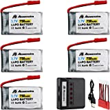 Powerextra 5 Pcs 3.7V 750mAh Lipo Battery(JST Plug) with X5 Charger for MJX X400 X400W X800 X300C Sky Viper S670 V950hd V950str HS200W