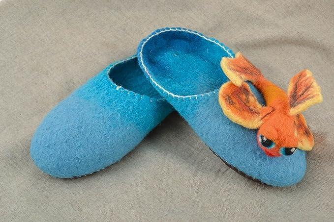 Zapatillas De Casa Originales Hechas A Mano De Lana En Técnica De Fieltro Azules: Amazon.es: Ropa y accesorios
