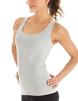 Winshape WVR25 - Camiseta deportiva para mujer (diseño de espalda cruzada)  gris grey- e0de7f4b46fc2