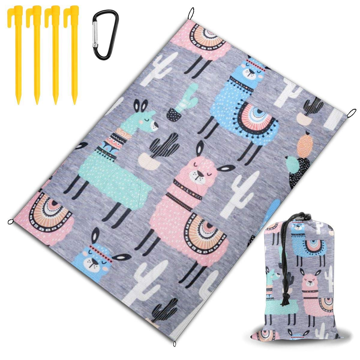 LHLX HOME Several Cartoon Llama Picnic Blanket Handy Beach Mat with Waterproof Backing Anti Sand for Picnics, Beaches, Camping and Outings 78x57 by LHLX HOME