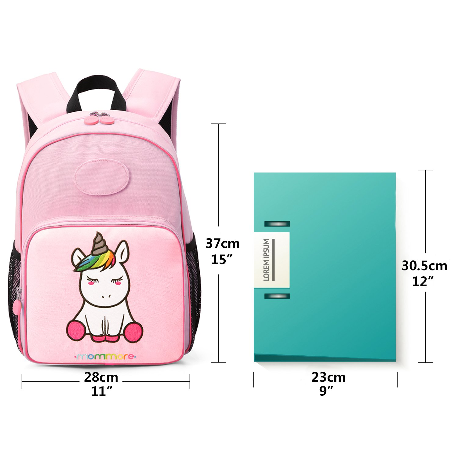 a6be4a9196 MOMMORE Cute Unicorn Kids Backpack with Insulated Lunch Bag for Girls