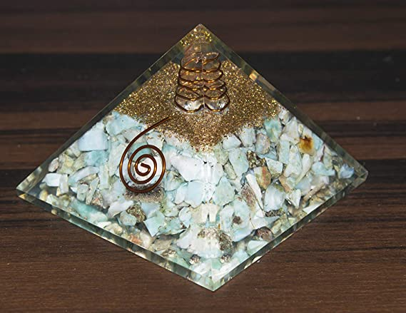 YATHABI Larimar Crystal Orgone Gemstone Pyramid Positive Energy Generator for Aura Cleansing Chakras Balancing /& Reiki Healing Meditation Yoga Size: 2-2.5 Inches