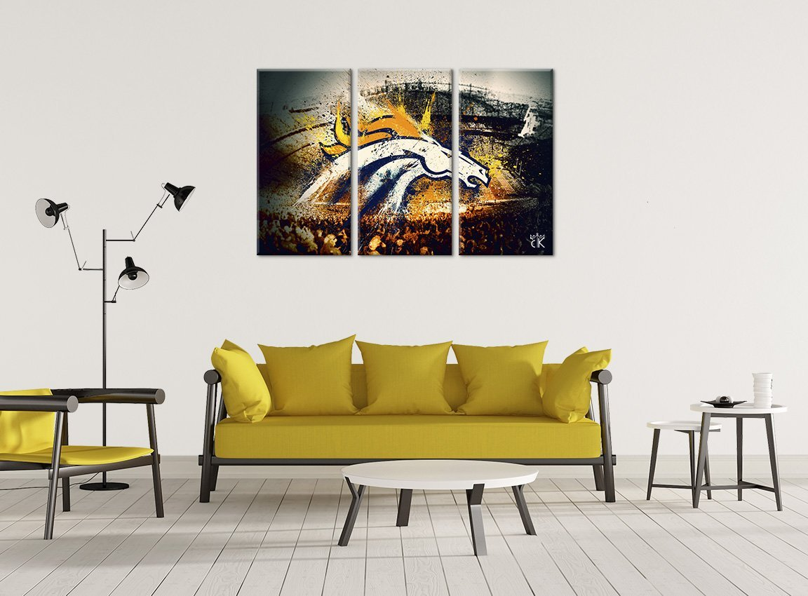 Amazon.com: Denver Broncos Football Canvas || Modern Sports Wall Art ...