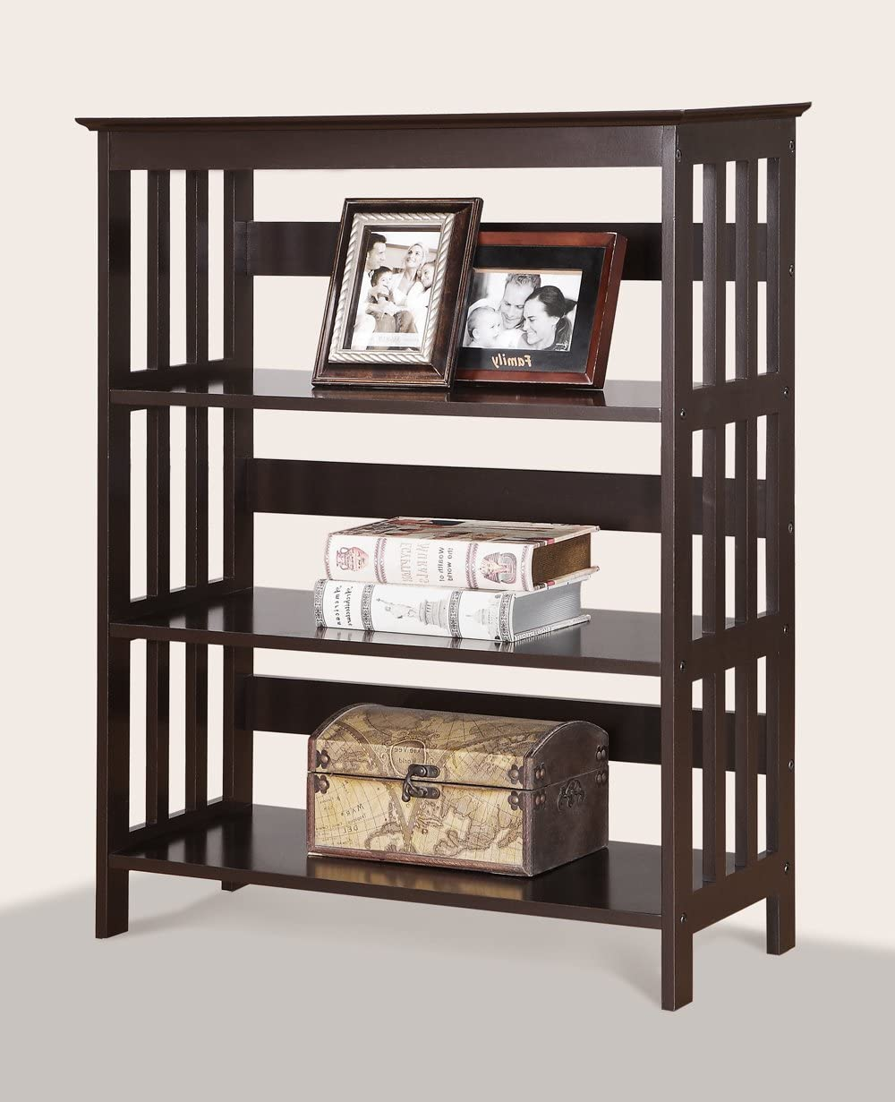 Roundhill Furniture Wooden 3 Shelves Bookcase