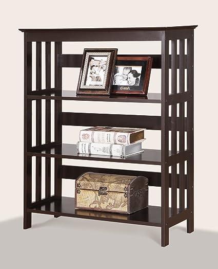 Roundhill Furniture Wooden 3 Shelves Bookcase Espresso Finish