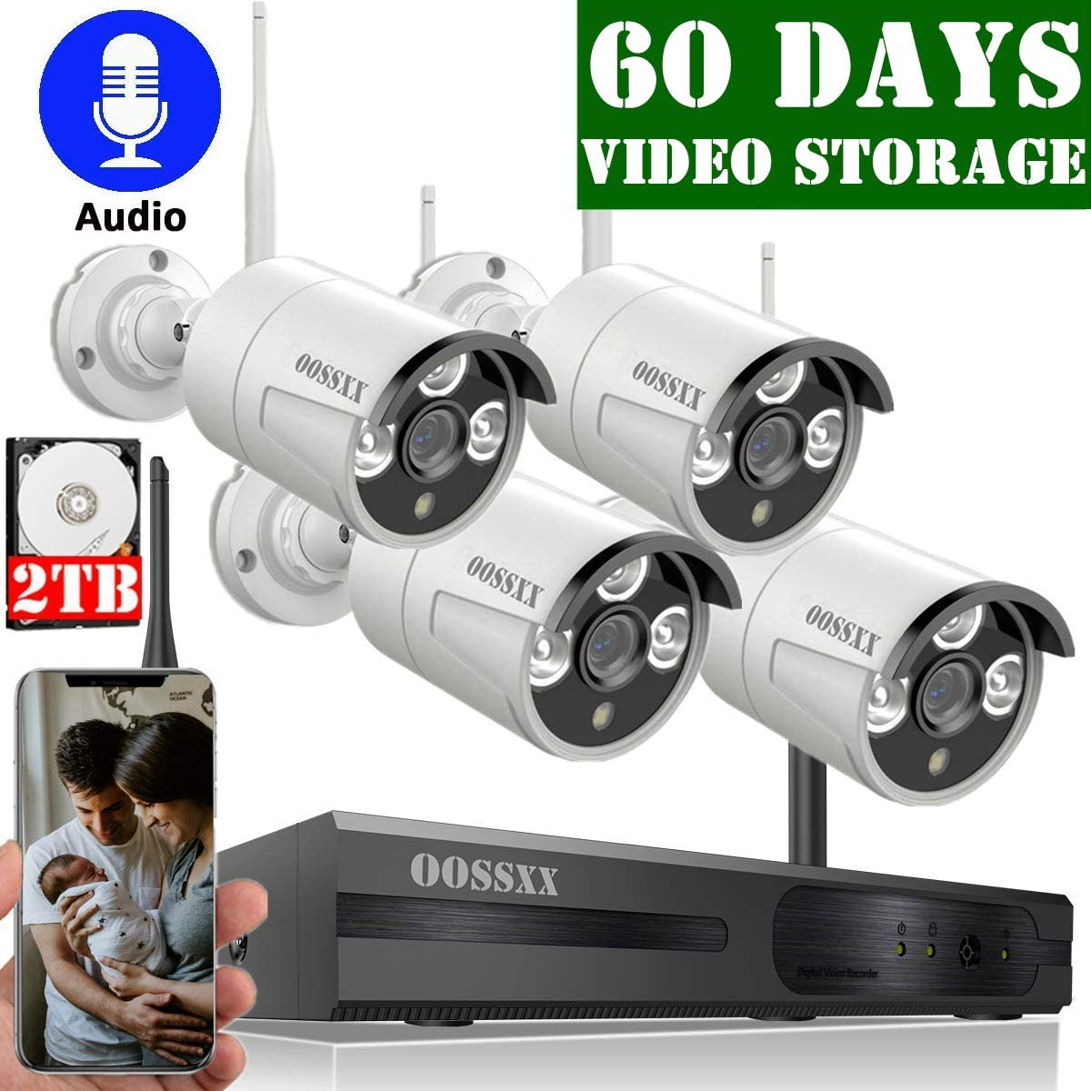 Expandable 8CH Audio OOSSXX 8-Channel HD 1080P Wireless Security Camera System,4Pcs 1080P Wireless Indoor Outdoor IR Bullet IP Camera