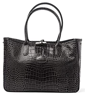 Image Unavailable. Image not available for. Color  Longchamp Roseau  Crocodile-embossed Shoulder Bag Gray Grey New Guaranteed Authentic 19f277fac2ac5