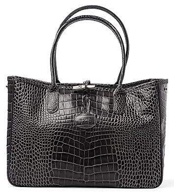 b6f5cb89012 Longchamp Roseau Crocodile-embossed Shoulder Bag Gray Grey New ...