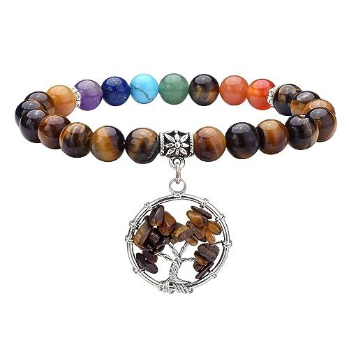 6b398b3cdc38 Jovivi Joyas - Pulsera de mujer con piedras semipreciosas que representan  los 7 chakras para sanación, terapia energética, amuleto de la suerte, ...
